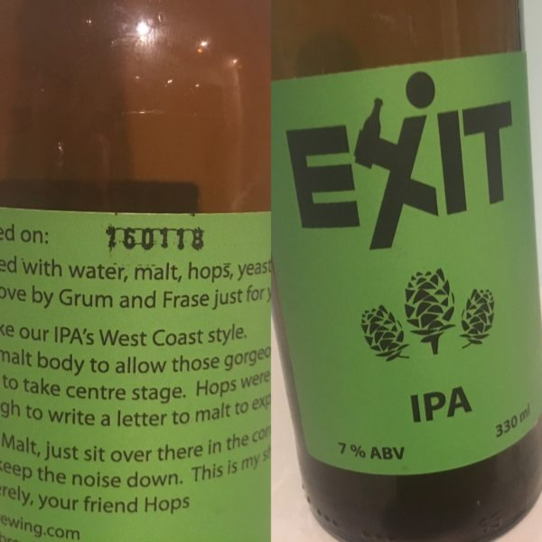 Exit Brewing IPA Back Label